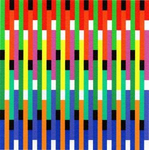 horst bartnig, 80 unterbrechungen in schwarz und weiß, 80 streifen in 10 farben, 2016, künstler-pc-print auf bütten, 13 x 13 cm